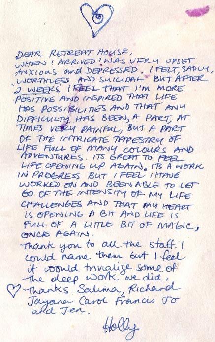 Holly handwritten testimonials