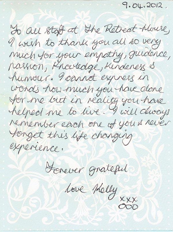 Kelly handwritten testimonial
