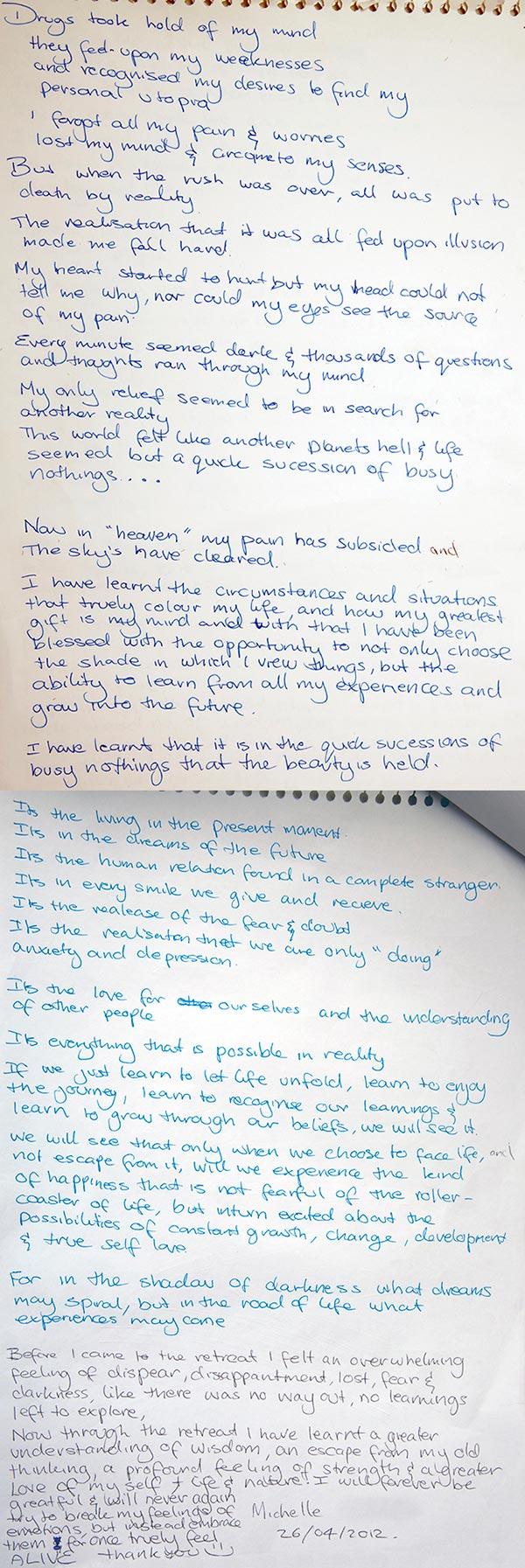 Michelle handwritten testimonial