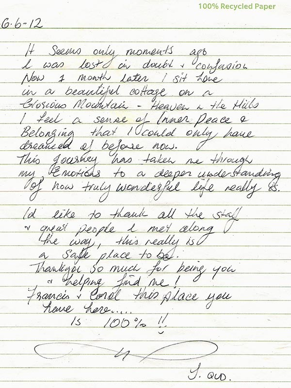 Janene handwritten testimonial