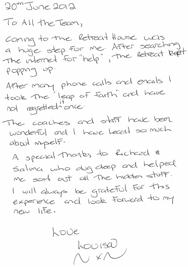 Louisa handwritten testimonial - The Health Retreat