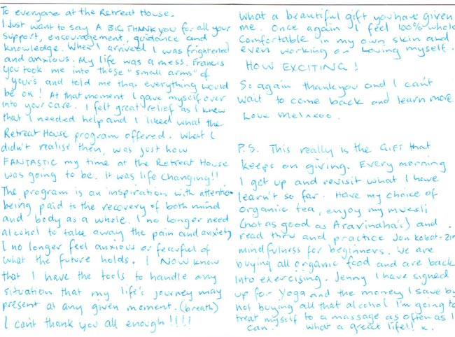 Mel's Handwritten testimonial - The Health Retreat