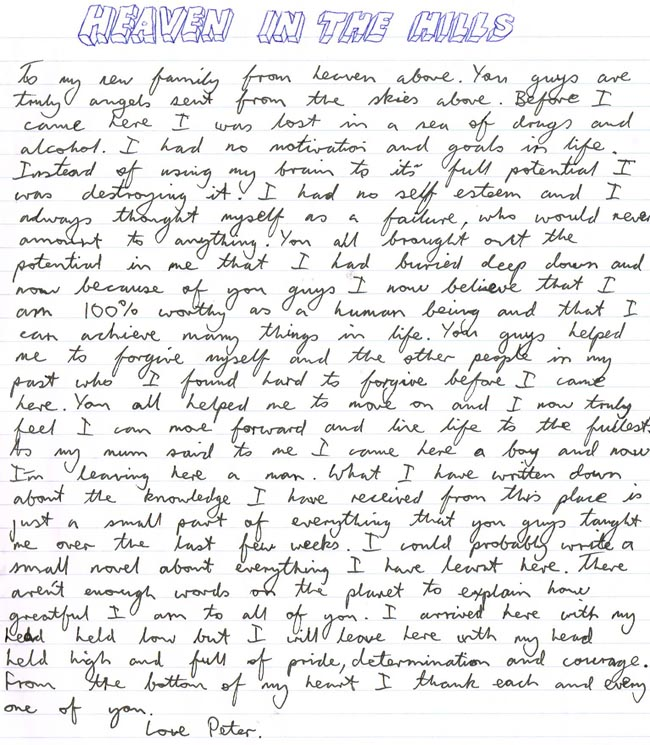 Peter - Hand Written Testimonial - The Health Retreat