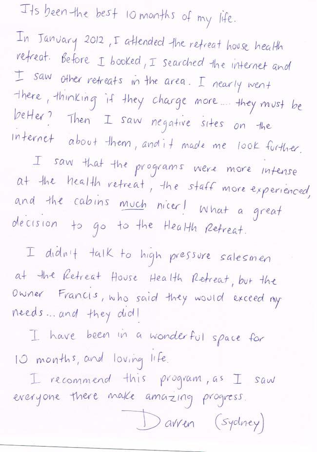 Darren - Handwritten Testimonial - The Health Retreat