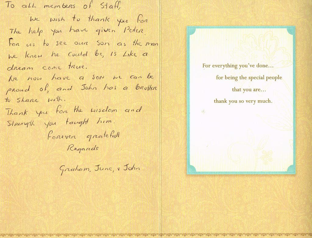Graham, June and John - Hand written Testimonial - The Health Retreat